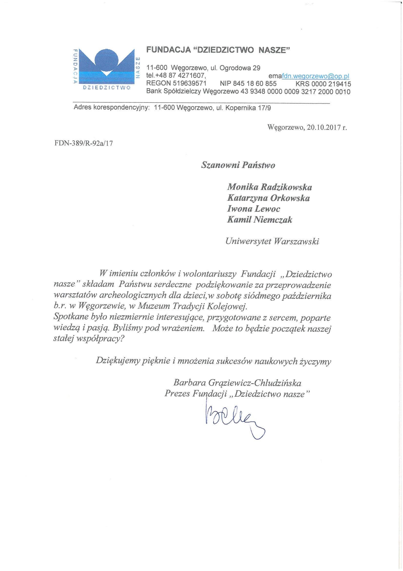 Podziękowania od Fundacji Dziedzictwo Nasze za przeprowadzenie warsztatów w Węgorzewie