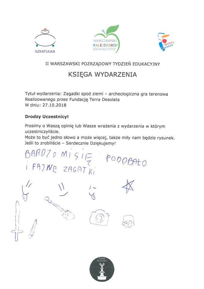 Kolejna opinia o zajęciach w Wilanowie