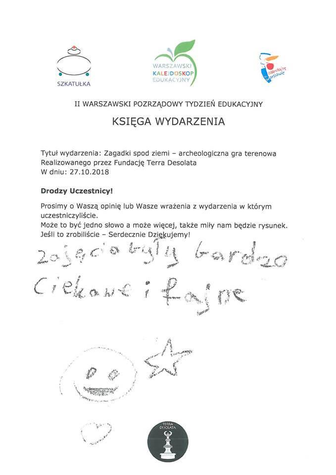 Opinia o zajęciach w Wilanowie
